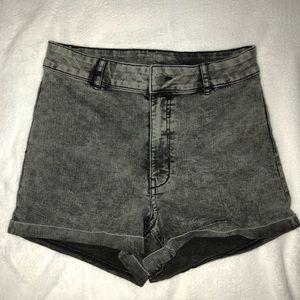 High Waisted Grey Acid Wash Shorts